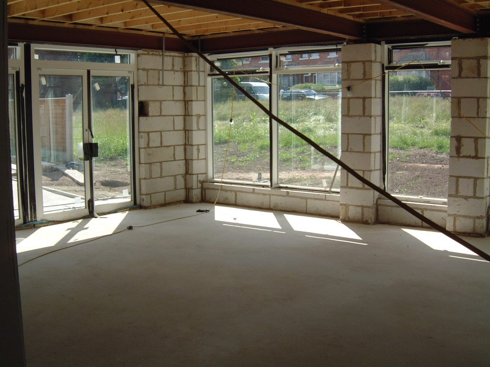 Concrete floor and block build