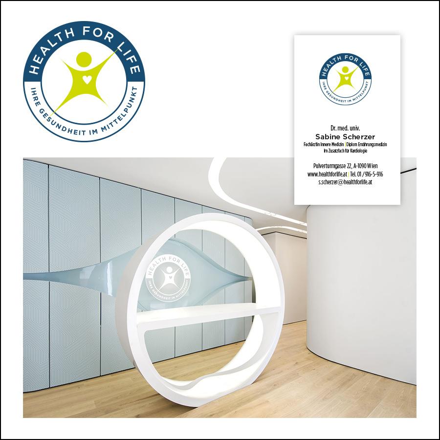 Logo und grafischer Auftritt für eine Praxis für Vorsorgemedizin: designed by harald – Architekturbüro: smartvoll (www.smartvoll.at)