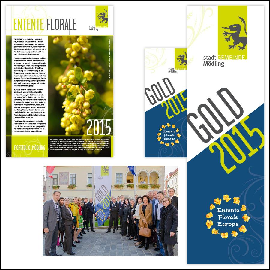 Fahnen, Rollups und Einreichungsunterlagen für den Wettbewerb Entente Florale, Stadtgemeinde Mödling - designed by harald