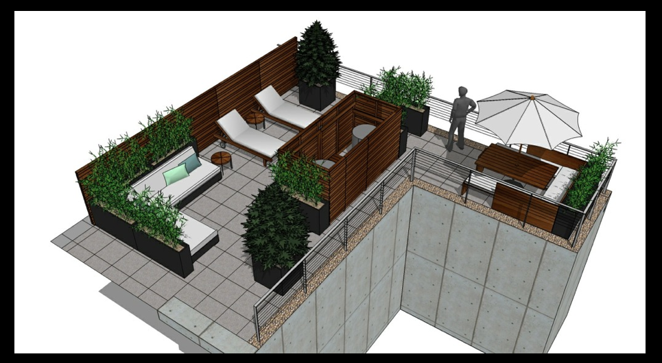We work closely with our client to understand their individual needs and can present  tailored Schematic Design Plans. One of our current projects is to install a roof-garden for a  residence in Chelsea, New York, NY. We created a privacy dividing wall and enclosure around HVC which will be constructed with Ipe wood. There will be three areas: A lounge to relax with guests, sunbathing area, and a dining area which will have a separate corridor to allow staff  direct access.