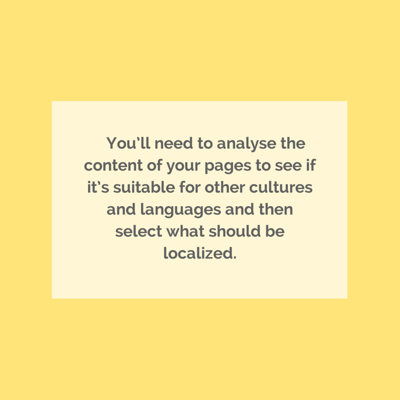 Take-away: you'll need to analyse the content of your pages to see if it's suitable for other cultures and languages and then select what should be localized.
