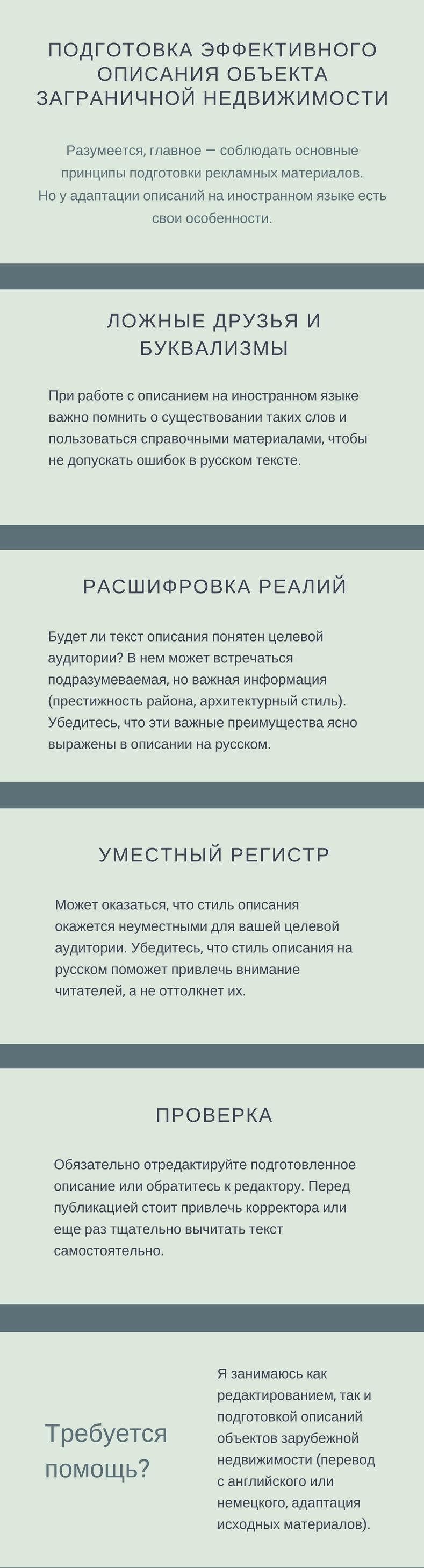 Инфографика: что учитывать при подготовке описания зарубежной недвижимости на русском на основе материалов на иностранном языке.