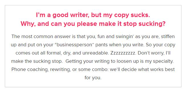 """ Make it stop sucking "" and "" Copy that twerks all the way to the bank "" — goes straight into my ""transcreation challenges I don't even want to think about"" swipe file."