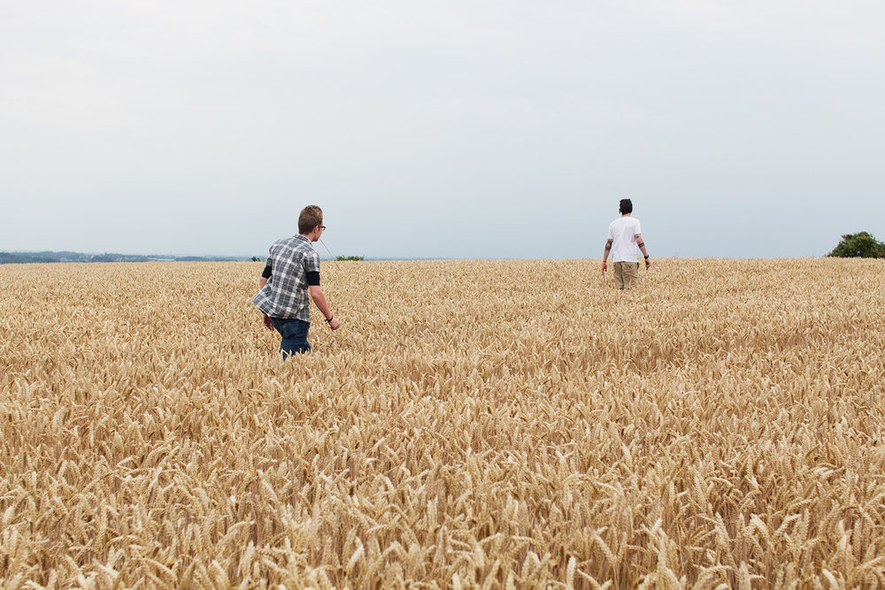 Two men walking through field of wheat in Belgium