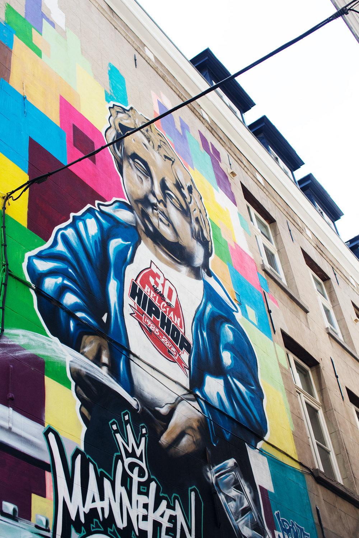 Manneken Pis graffiti street art in Brussels