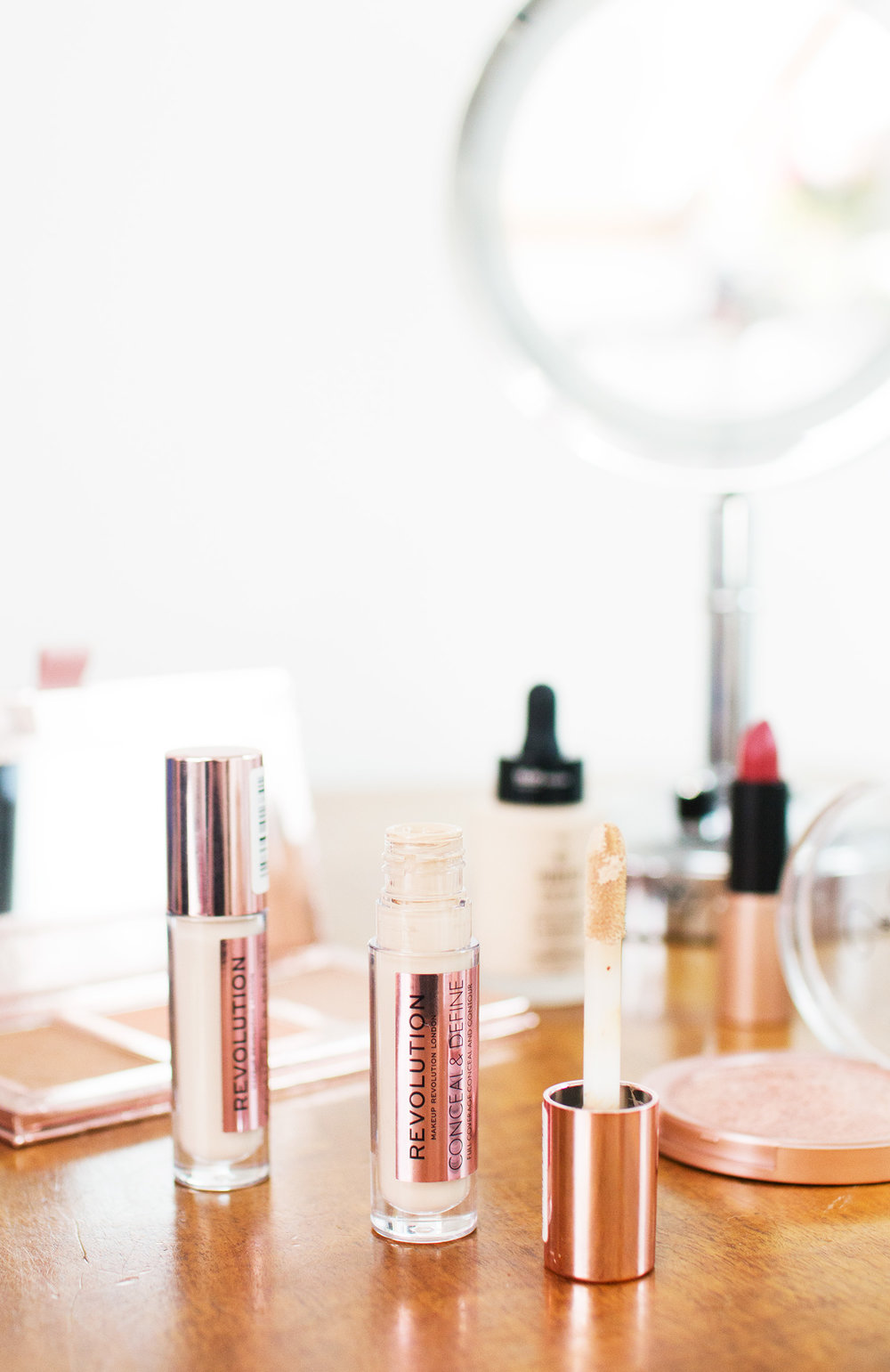 Makeup Revolution Conceal and Define Concealer in C1 and C2. Photography by Alice Red.