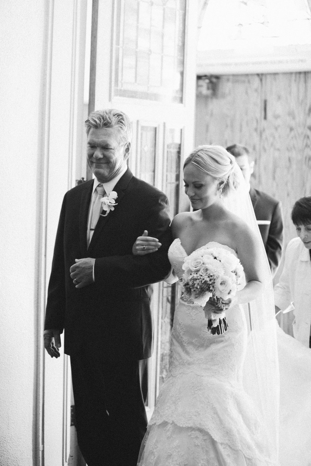 Here is the photo of my father and I as the doors opened and we started down the isle. Photo Credit: Brumley And Wells
