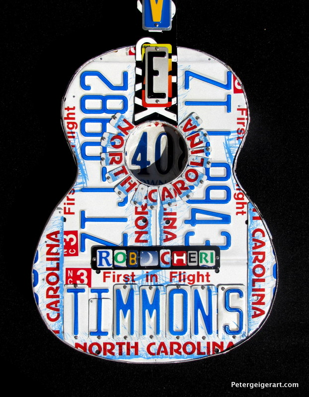 License plate guitar art- Birthday Gift