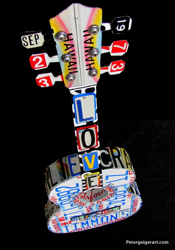 License plate guitar art birthday gift 3