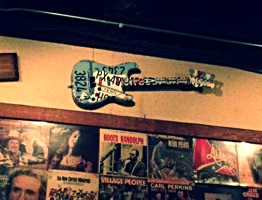License plate guitar in Nashville Legends Corner