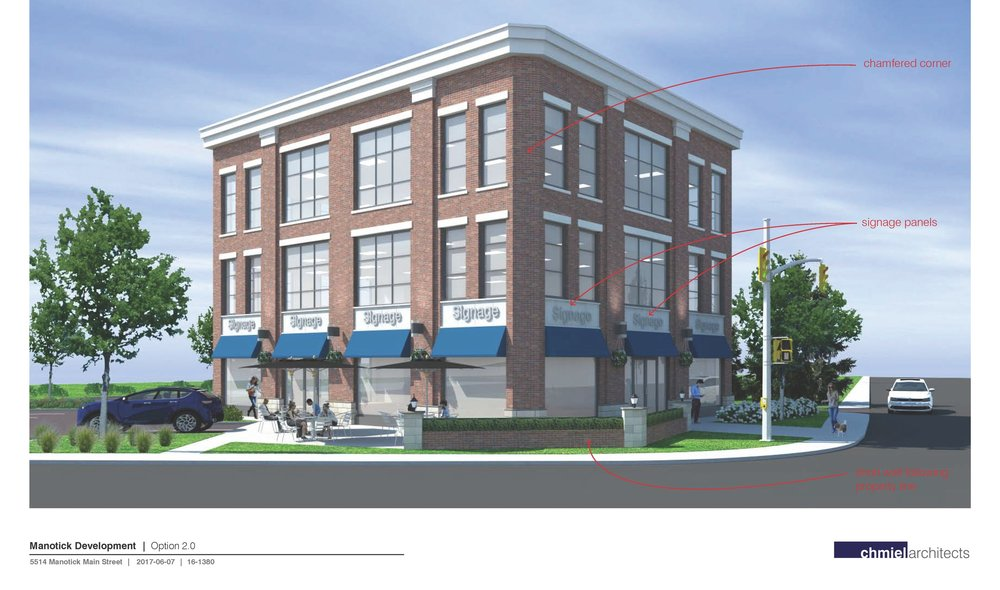 The image above is the most recent design available for the new commercial/office building to be built at 5514 Manotick Main Street. The owner and the architect are still making refinements in collaboration with various community leaders that have been instrumental in softening the design of the original proposal and creating something that is more in tune with the community's vision for the village core. Further refinements could include four chamfered corners as well as a hanging clock/sign on the southeast corner of the property.  The wall pictured at the edge of the southeast corner is proposed to be built using the existing foundation stones from the Falls House. This will allow the property to front the intersection nicely and will also provide a buffer between the road and proposed patio. It will also provide some uniformity with the two other gateway features at this intersection. Removal of the guard rail will also take away some of the industrial feel of the intersection.  While the zoning application is coming to Agriculture & Rural Affairs Committee on July 6th, the design will be finalized in the weeks that follow. I want to take this opportunity to thank representatives from the Manotick Village & Community Association, the Manotick Culture, Parks & Recreation Association, the Manotick BIA and the Rideau Township Historical Society for their input throughout this process. We also had two other community leaders assist and I owe a debt of gratitude to them as well. Thanks as well to the community for their input in recent months on this proposal.