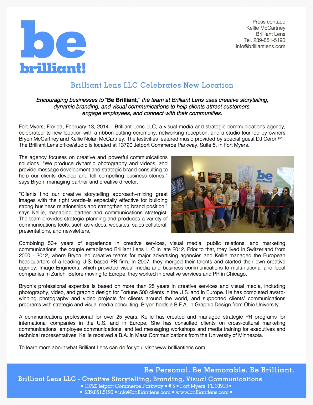 Image of Be Brilliant Marketing new office location press release