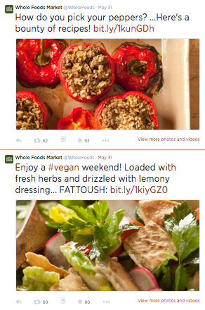 Image of Whole Foods Market tweets with visuals
