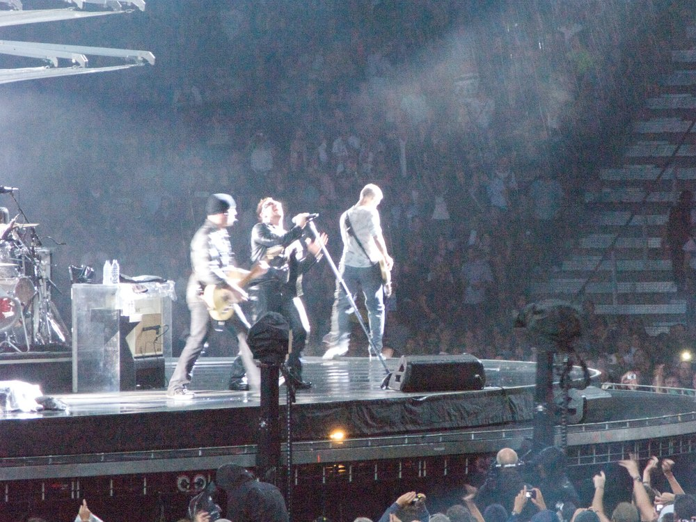 The U2 360° tour came to Zürich, Switzerland and played through a major rain strom.