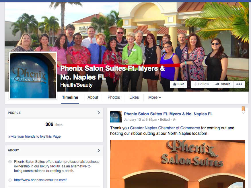 Screenshot of Phenix Salon Suites Ft. Myers and North Naples Facebook Page.