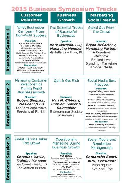 Image of 2015 Greater Fort Myers Chamber of Commerce Business Symposium Schedule