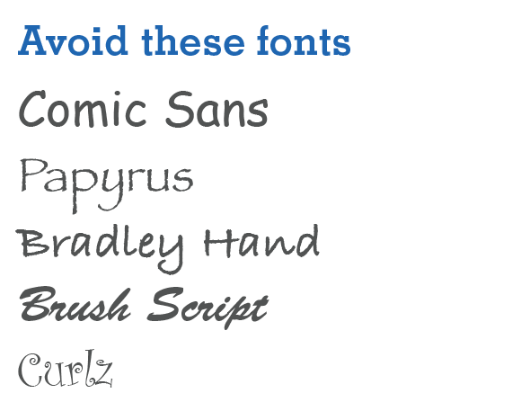 Image of examples of bad fonts