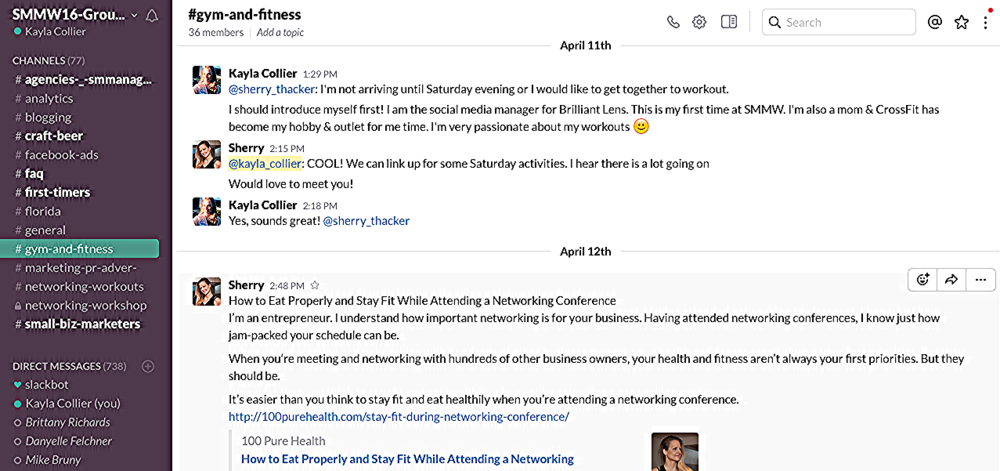 This is screen shot from Slack, a messaging app for teams, for SMMW16.