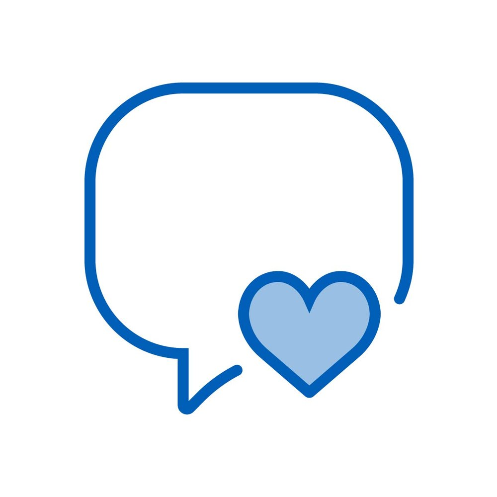 Icon graphic depicting the concept of brand love and loyalty, a result of building a loyal base of raving fans through social media marketing from the Be Brilliant! Marketing Team.