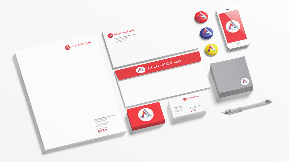 Close up of stationery, products, and device mockup for Alliance for the Arts rebranding.