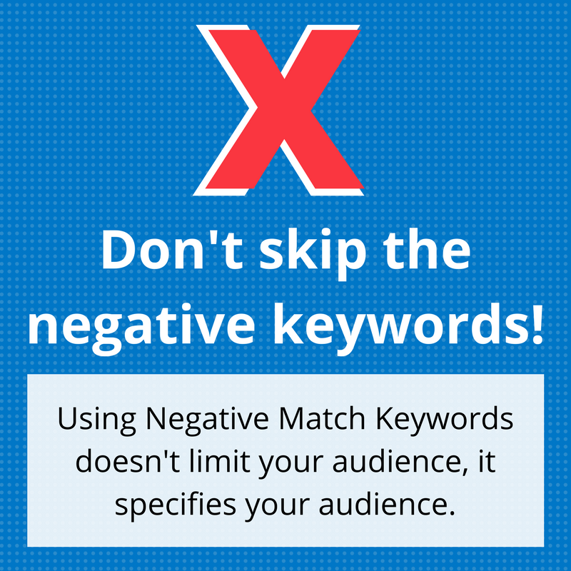Graphic of negative keywords for PPC