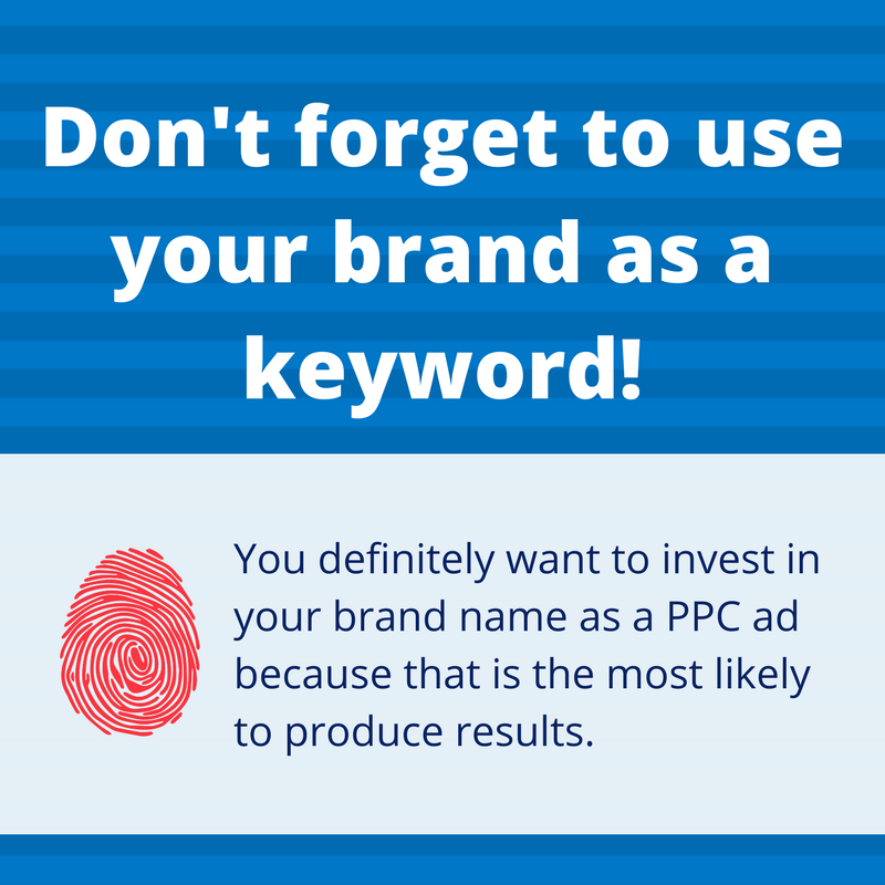 Graphic of brand keyword for PPC