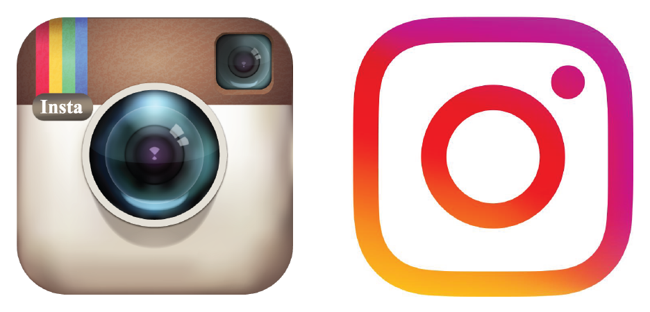 Instagram's logo before and after