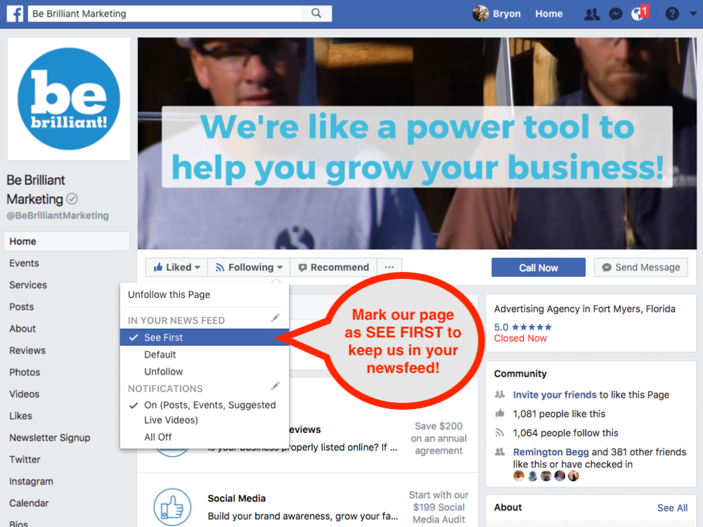 "Ask your page followers to mark your business page as ""SEE FIRST."""
