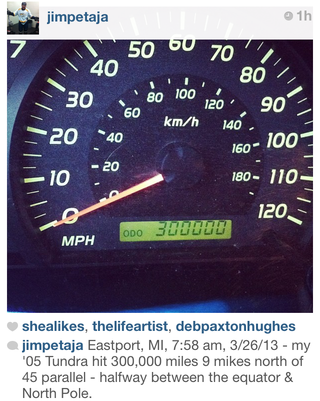 "I work for a financial advisor by day and manage a small car obsession at night. What I mean by ""manage"" is that I resist the urge to buy a new car on a daily basis.  My dad posted this pic to his Instagram (yes, he has an Instagram and he knows how to use it). He bought the Tundra brand new and because he is ""steady Eddy"" he will keep this truck until it dies.  My dad is a Number 6 on the Ennegram, a ""Loyalist"" which means he is ""The committed, security-oriented type. Sixes are reliable, hard-working, responsible, and trustworthy.""  I'm a Number 7, ""Sevens are extroverted, optimistic, versatile, and spontaneous. Playful, high-spirited, and practical, they can also misapply their many talents, becoming over- extended, scattered, and undisciplined.""  My cars rarely make it to their expiration date.  My 30's are reinforcing this phrase, ""slow is pro"".  Time takes time. We are waiting on our own desires to become known, waiting on the destinies of others to collide with ours and waiting for an answer. The seasons move in and out taking us with them as it is with time.  And yes, in my mind that 300,000 mile mark is an indication of a father who has adopted the phrase ""slow is pro"" and is hoping that his daughter will consider delaying Number 7's desire to chase every shiny thing.  We'll see. Time will tell <sigh>"