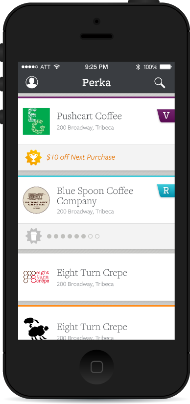 Eventually we were able to get our merchant branding into the list view. The purple, blue, and orange accents show the users Tier status at these locations.