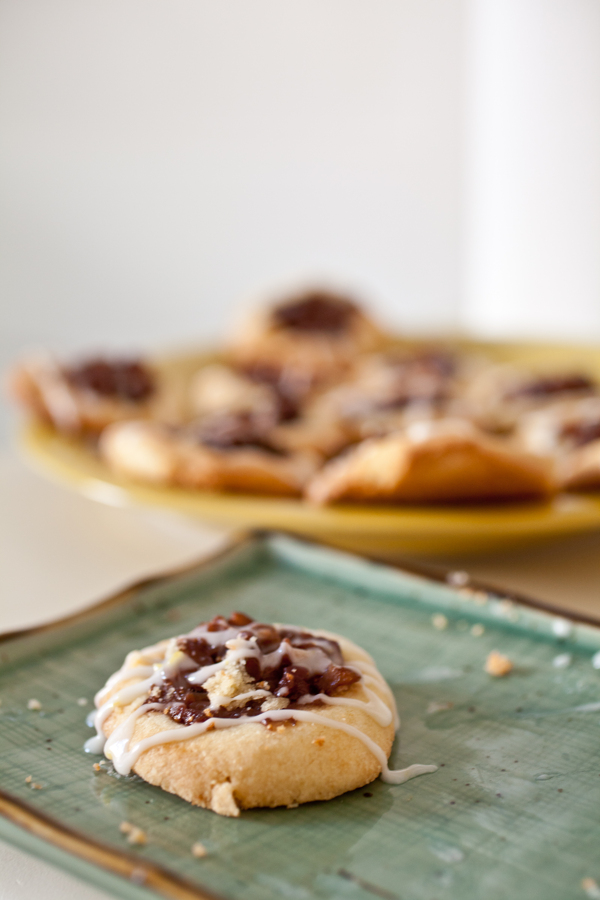 shortbread cookies with fig compote and lemon-vanilla glaze.