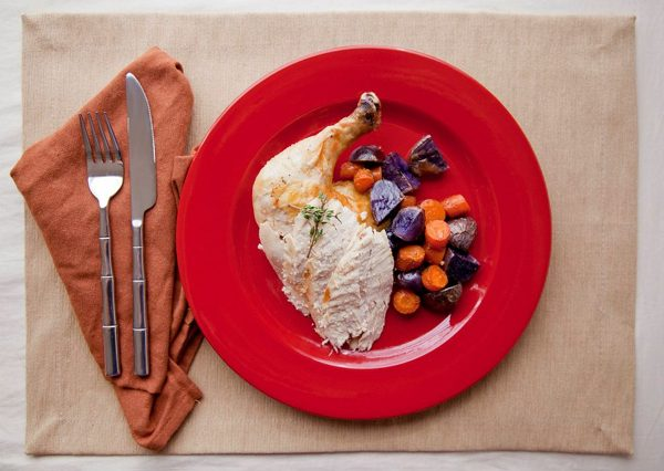 rosemary chicken + roasted purple fingerling potatoes and carrots. assisted by Ms. Margaret Oliva + Ms. Alexandra Simmons