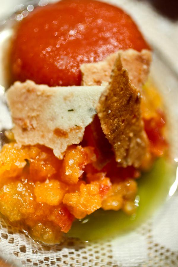 heirloom tomato sorbet + tomato tartar + chive oil + garlic tuilles.