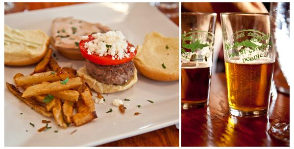 ahi tuna slider and lamb + feta slider || midas' touch + aprihop beer ||  Dogfish Head  Slider Tasting,  Commerce Street Bar & Grille .