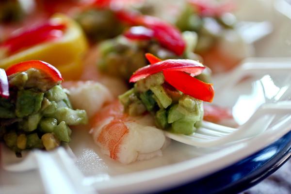 steamed shrimp + avocado salsa.