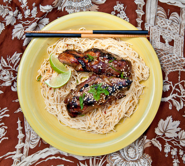 korean-style barbecued pork ribs with sweet + spicy noodles