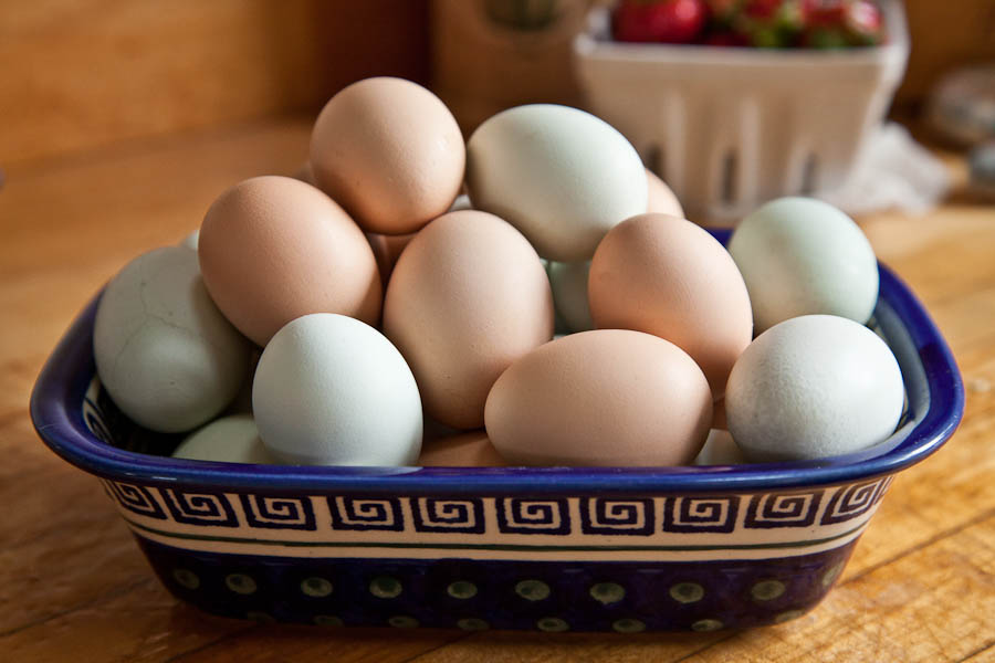 if you're getting your eggs straight from a chicken like I'm lucky enough to, make sure you're using OLD eggs (2+ weeks), or they'll be a pain in the booty to peel.