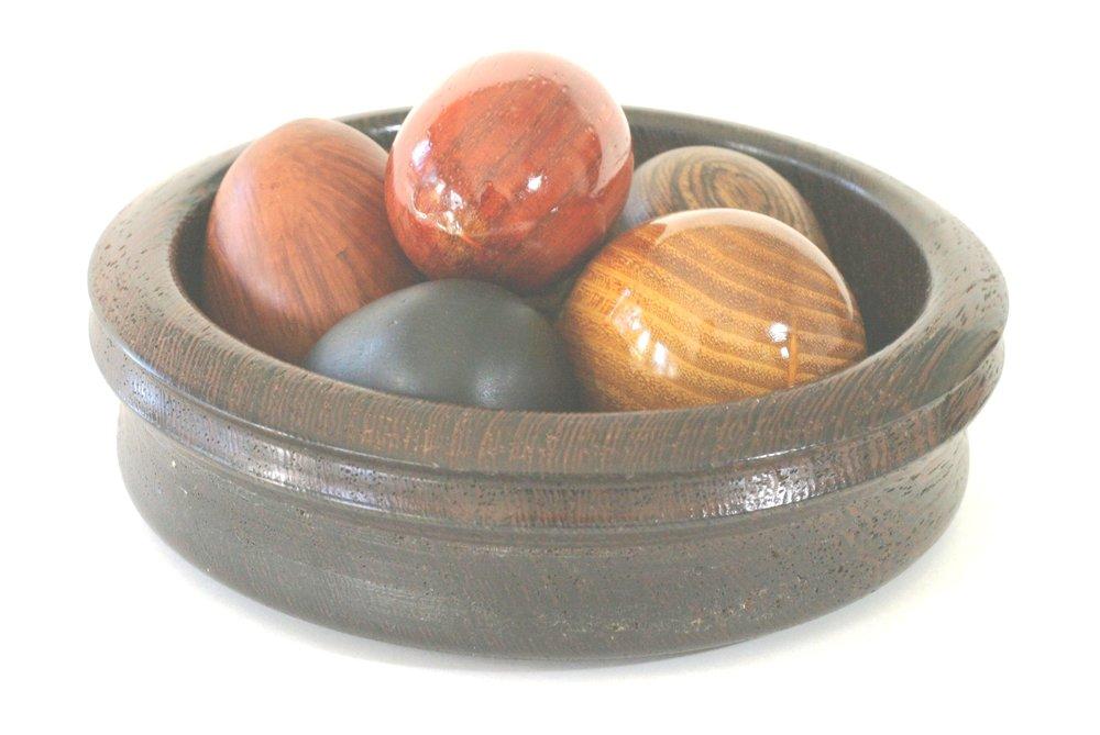 Eggs, Ebony, Osage Orange, Heath,  Paduak, Bocote, in Wenge Bowl, 2 x 6.JPG