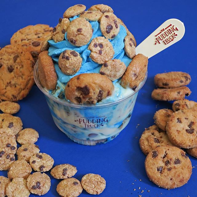 Fans will be in for a treat 😍 Check out our August special, the C is for Cookie sundae! It's Vanilla Bean pudding layered with Chips Ahoy, blue whipped cream, mini chocolate chips, and Cookie Crisp 😋 #chipsahoy #cookiecrisp
