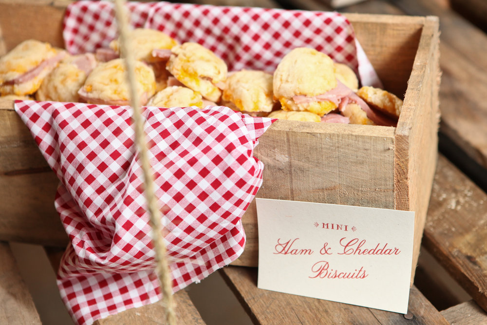 Lined with gingham napkin and stuffed with homemade biscuits.