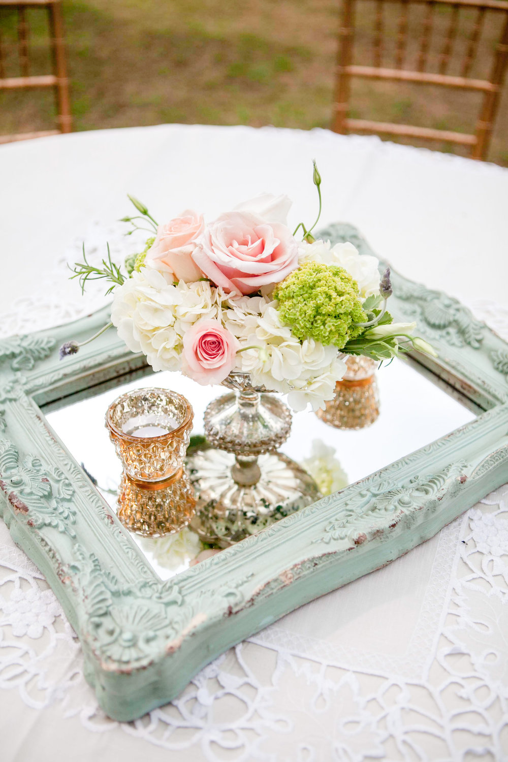 The mint mirrors were perfect for some of the round table centerpieces.