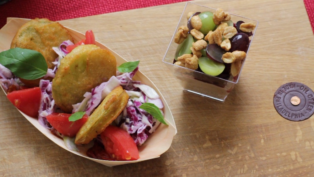 the Fried Green Tomato dish served with Young's PB&J parfait at the Hester St Fair stand!