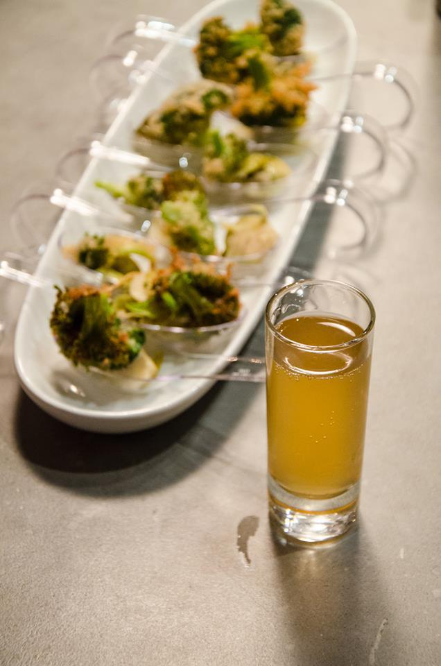 our cider battered broccoli with brusselkraut and mini shots of local hard apple cider!