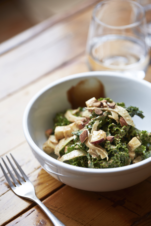 kale salad with porter apple butter