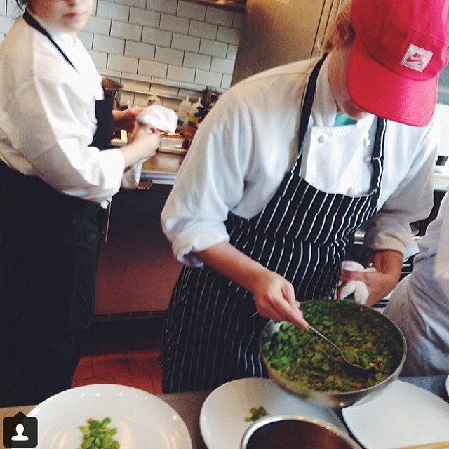 Plating of the fava course begins! Go @jyoungnyc.  photo by @_kate_lewis