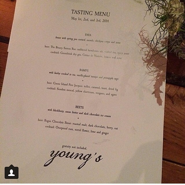 Thanks @yogahigh for your pic of our menu last week and the kind words! #youngsrestaurant