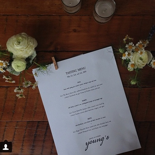 Thanks @justmays for your photo of our pop-up #2 menu last week! Gorgeous :))