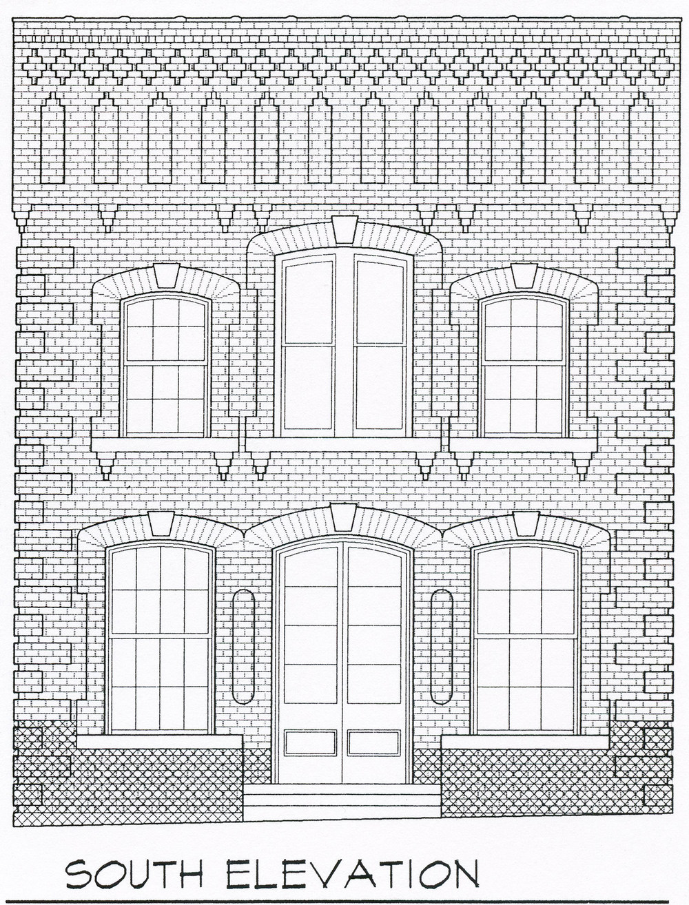 South Elevation, Summerfield Town Hall Plans
