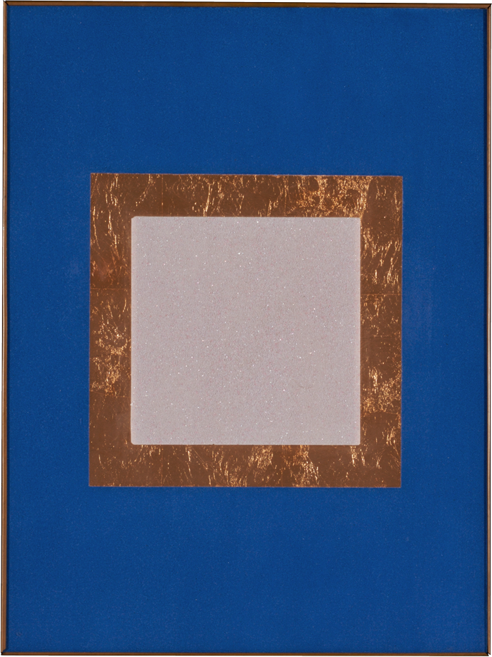 "In Praise of the Sacred Earth #12, 1996 Lapis lazuli, lepidolite on glass, copper 24"" X 18"" Collection of the artist"
