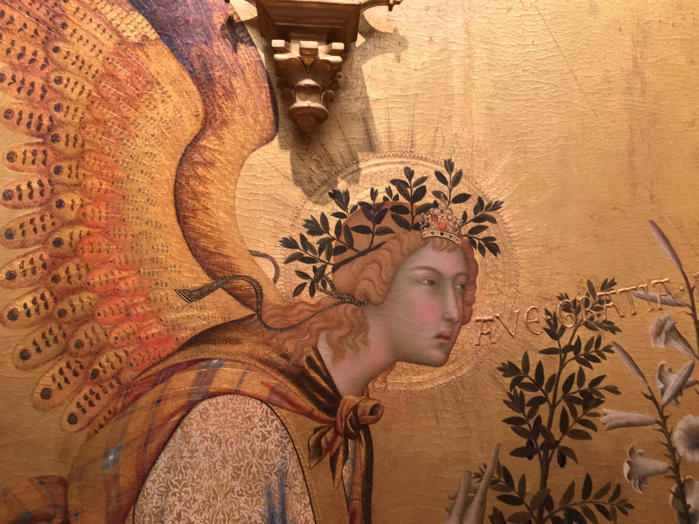 """Detail of """"Annunciation with St. Ansanus and St. Maxima"""", 1333, Simone Martini and Lippo Memmi, Uffizi Gallery Museum, Florence."""